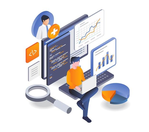 Programador analisando dados com laptop