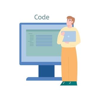 Programador codificando ou desenvolvendo ilustração de software