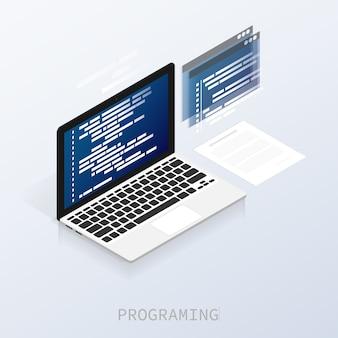 Programador de codificação binário computador isométrico vector plana