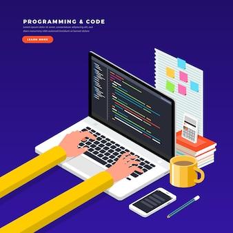 Programador de conceito isométrico e codificação. ilustração. layout do site.