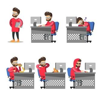 Programador de desenho animado com computador