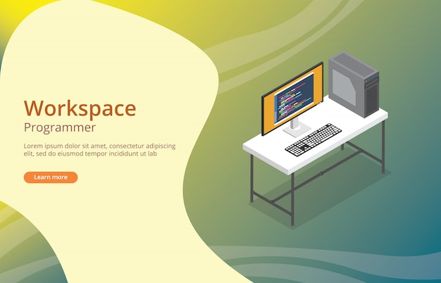 Programador de espaço de trabalho ou desenvolvedor com codificação na tela