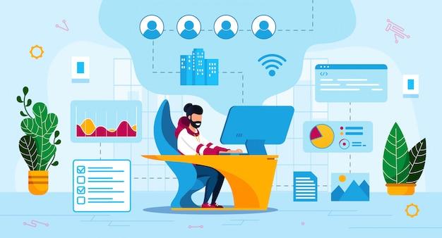 Programador de negócios on-line flat concept