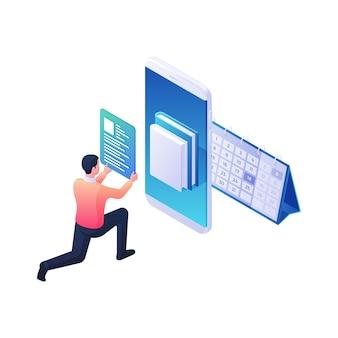 Programador desenvolvendo biblioteca web para aplicativo móvel isométrico. o personagem masculino ajusta a descrição e a interface do usuário para o prazo final do projeto. software conveniente e conceito de design moderno