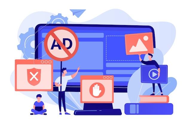 Programador desenvolvendo programa antivírus. conteúdo da internet banido