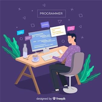 Programador, fazendo, seu, trabalho, apartamento, desenho