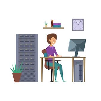 Programador feminino. personagem de desenvolvedor de ti com ilustração de computador