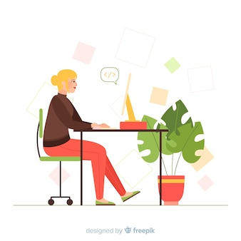 Programador feminino trabalhando ilustrado