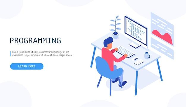Programador no trabalho. homem trabalhando no computador desktop. conceito de programação.