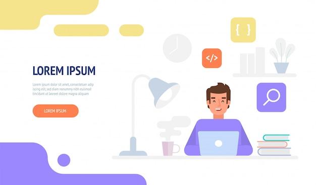 Programador ou engenheiro da web no trabalho. modelo de página de destino do site de programação do programador.