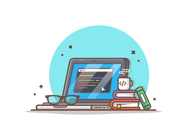 Programador portátil com ilustração de café, livros e óculos