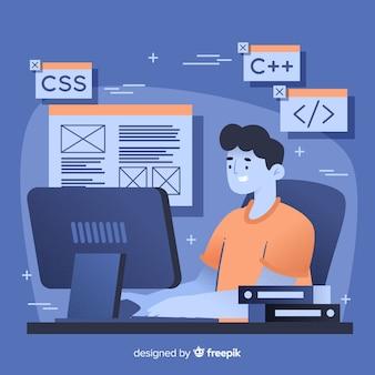 Programador trabalhando com c ++