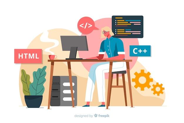 Programador trabalhando com html