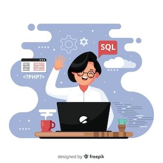 Programador trabalhando com sql