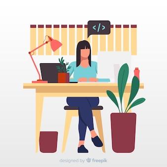 Programador trabalhando na ilustração de escritório