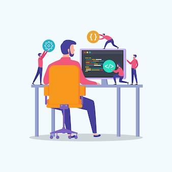 Programadores codificam o site no computador