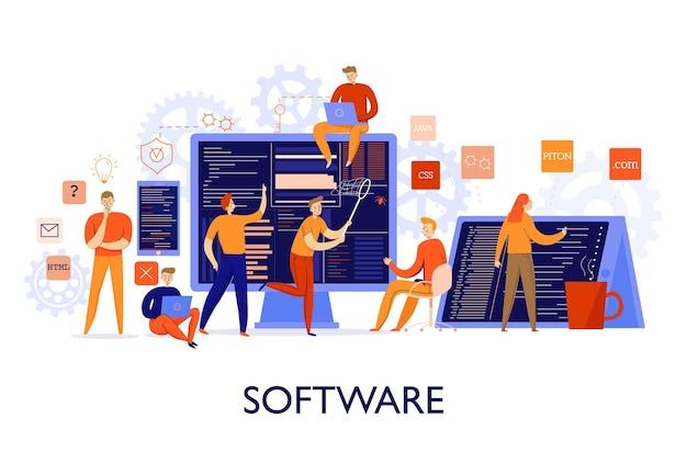 Programadores profissionais configurando ilustração plana colorida de software