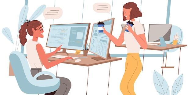 Programadores que trabalham o conceito de design plano. as incorporadoras trabalham no escritório, discutem o projeto, tomam café no escritório. local de trabalho do funcionário, cria software e aplicativos de cena de pessoas. ilustração vetorial