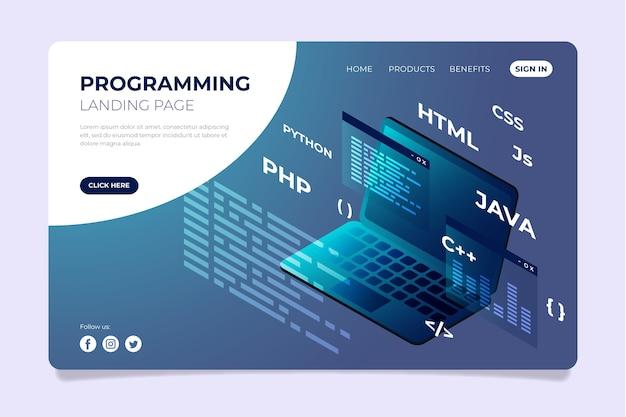 Programar código html da página de destino