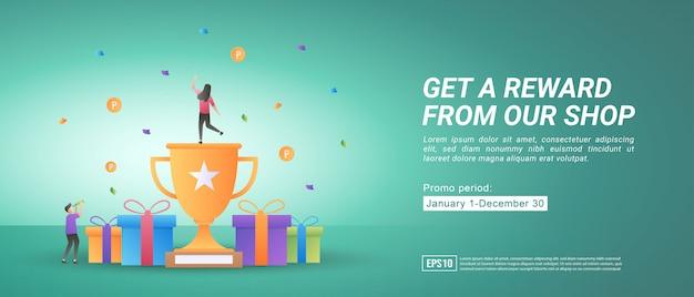 Programas de recompensa e promoção. receba prêmios comprando on-line. presentes para clientes fiéis.