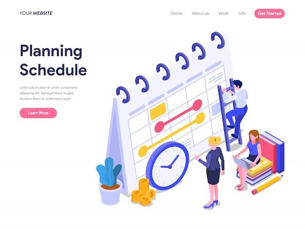 Programe o conceito isométrico de planejamento para landing page, interface do usuário, site