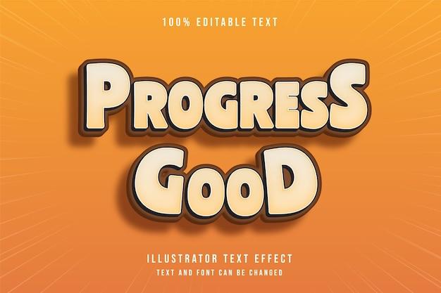 Progress, efeito de texto editável em 3d, estilo de jogo laranja gradação amarela
