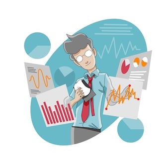 Progresso de negócios ou análise de mercado