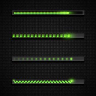 Progresso do download, coleção de ícones da barra de carregamento, símbolos para download