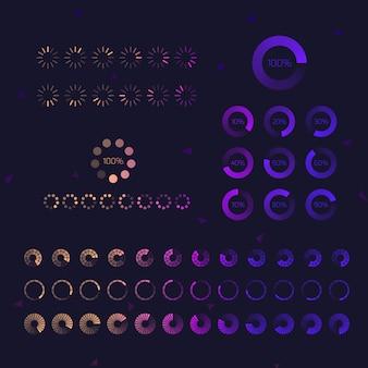 Progresso futurista carregando ícones da barra. conjunto de indicadores. processo de download, upload da interface da interface do usuário da web. ilustração.