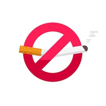Proibido fumar, não fume o emblema do ícone no fundo branco