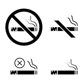 Proibido fumar. pare de fumar, assine. conjunto de ícones de informações. símbolo proibido. símbolo de serviço do hotel. estilo de glifo sem ícone de fumar. vetor