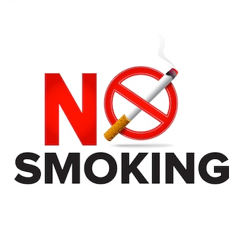 Proibido fumar rótulo sinal realista ícone