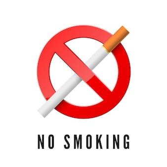 Proibido fumar. sinal de proibição vermelho com cigarro. ícone realista de fumo proibido. isolado em fundo branco