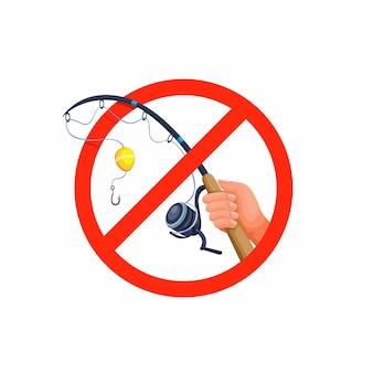 Proibido pescar. mão segure vara de pescar, ilustração de conceito de símbolo de proibição