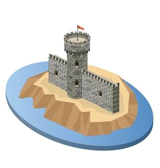 Projeção isométrica de um castelo medieval em uma ilha
