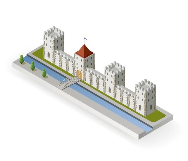 Projeção isométrica do vetor de um castelo medieval com um fosso e portão