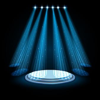 Projectores azuis com pódio branco sobre fundo escuro