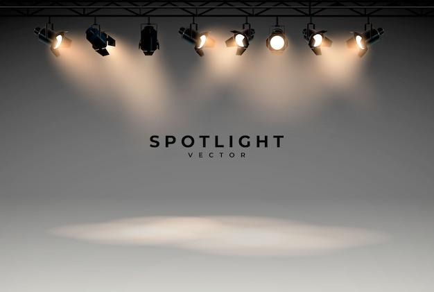 Projectores com luz brilhante branco brilhando conjunto de vetor de palco.
