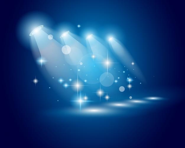 Projectores de espectáculos de teatro com luzes e estrelas