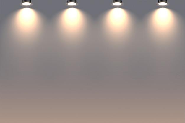 Projectores decorativos de parede caindo acima de fundo
