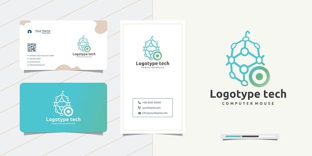 Projetando um mouse de computador elegante e um design de cartão de visita