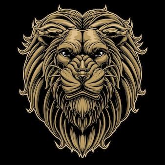 Projetar cabeça de leão no fundo escuro
