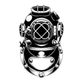 Projetar capacete velho scuba preto e branco