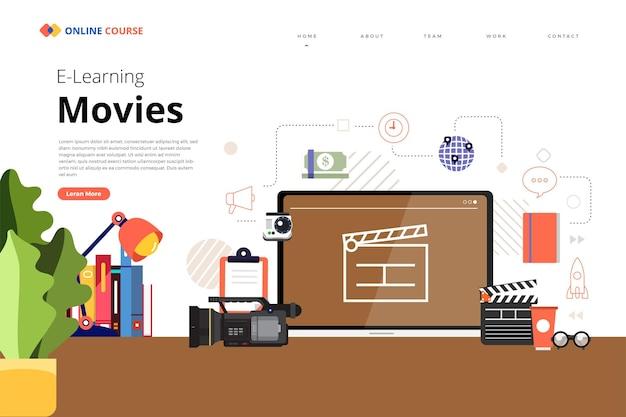 Projetar página de destino site educação filmes e cursos on-line