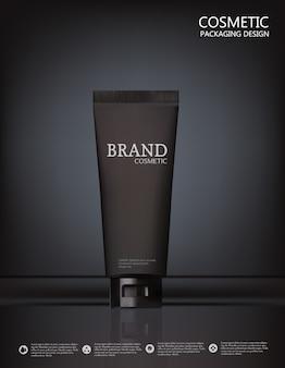 Projete a propaganda de produto dos cosméticos no fundo preto.