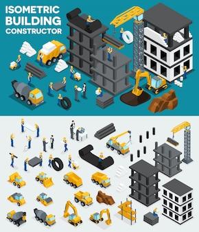 Projete a vista isométrica de construção, crie seu próprio design, construção civil
