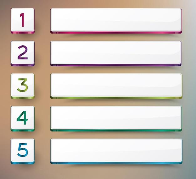 Projete infográfico com cinco opções. ilustração vetorial.