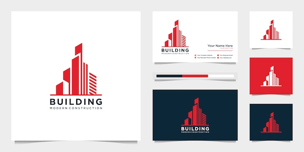 Projete logotipos e cartões de visita de construção civil, cidade inspiradora que constrói logotipos abstratos modernos.