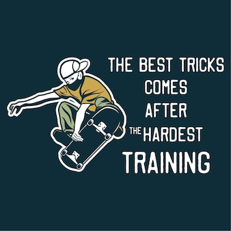 Projete os melhores truques após o treinamento mais difícil com o homem jogando skateboard ilustração vintage