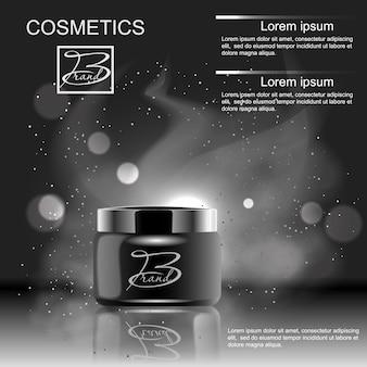Projete produtos de publicidade de cosméticos em um fundo preto. modelo em branco para seu projeto.